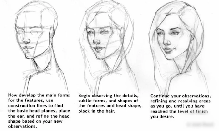 step by step tutorial, drawing of a girl, how to draw a girl, black and white sketch