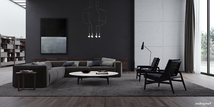 black wall with an abstract painting, grey corner sofa, wall treatments, hanging chandelier