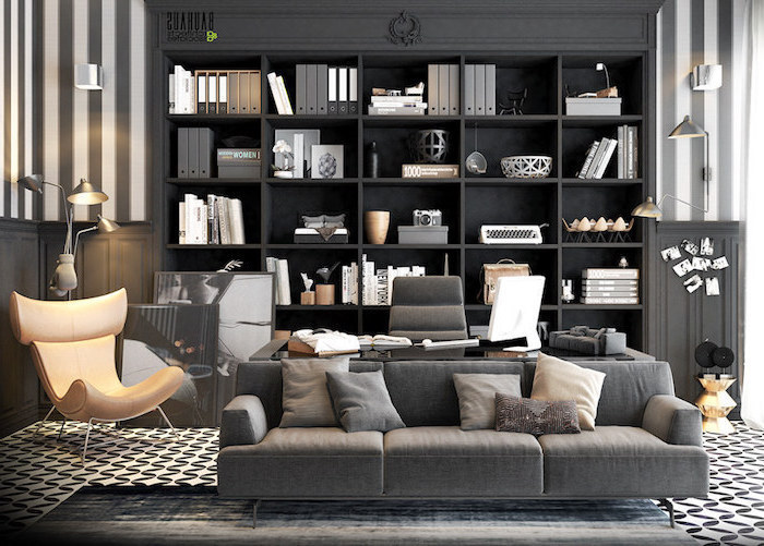 large black wooden bookcase, dark grey sofa, small office ideas, beige leather armchair, dark grey chair