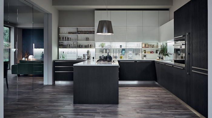 wooden floor, black and white wooden cabinets and drawers, kitchen cabinet design, white counters