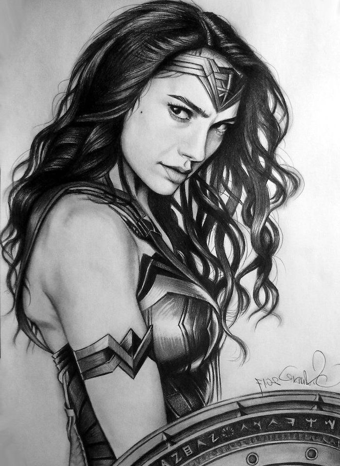 long black wavy hair, girl face drawing, wonder woman black and white drawing, diadem on her head
