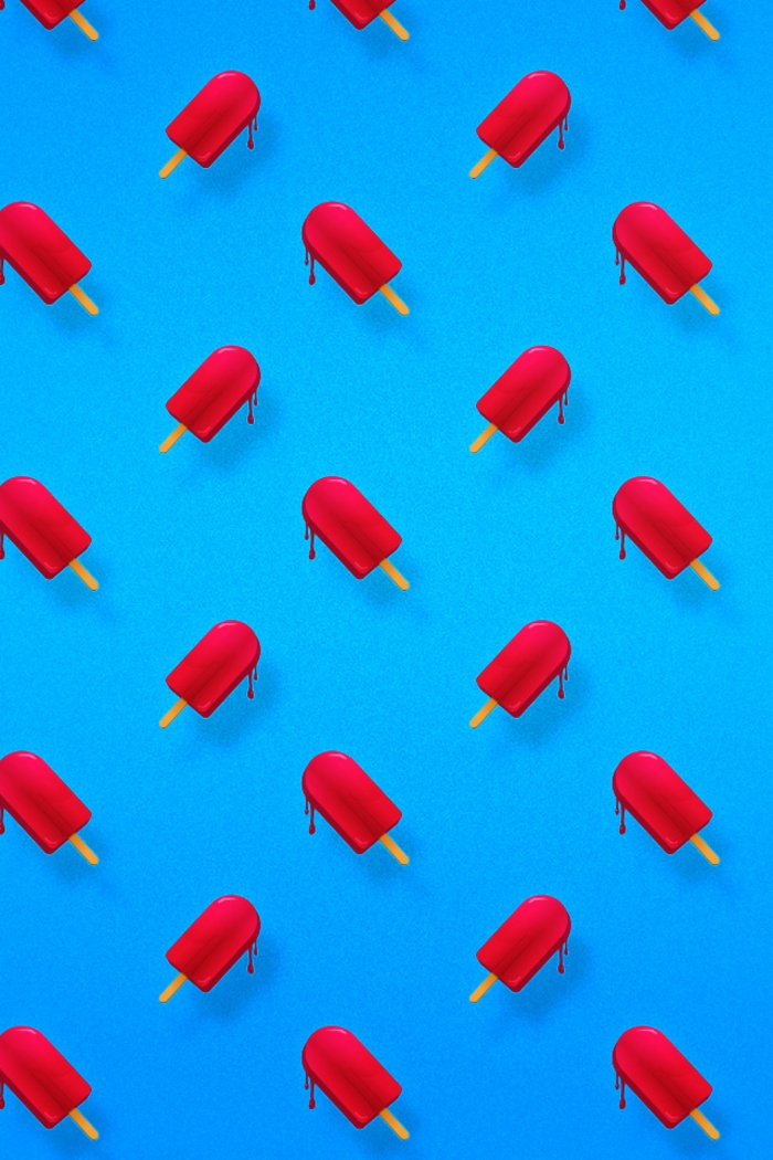blue background, best iphone wallpapers, red popcicles