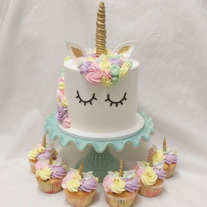 blue cake stand, pink yellow purple and green roses on white fondant, rainbow unicorn cake