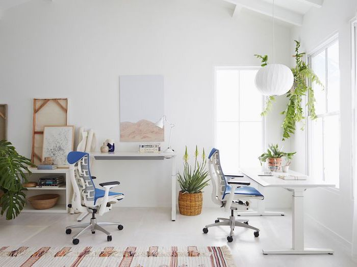 blue chairs, white desks, hanging lantern, modern home office, white walls and floor with a rug