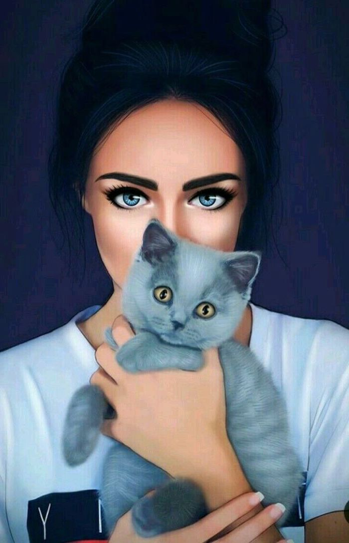 black hair, blue eyes, grey cat, how to draw a face, purple background, white t shirt