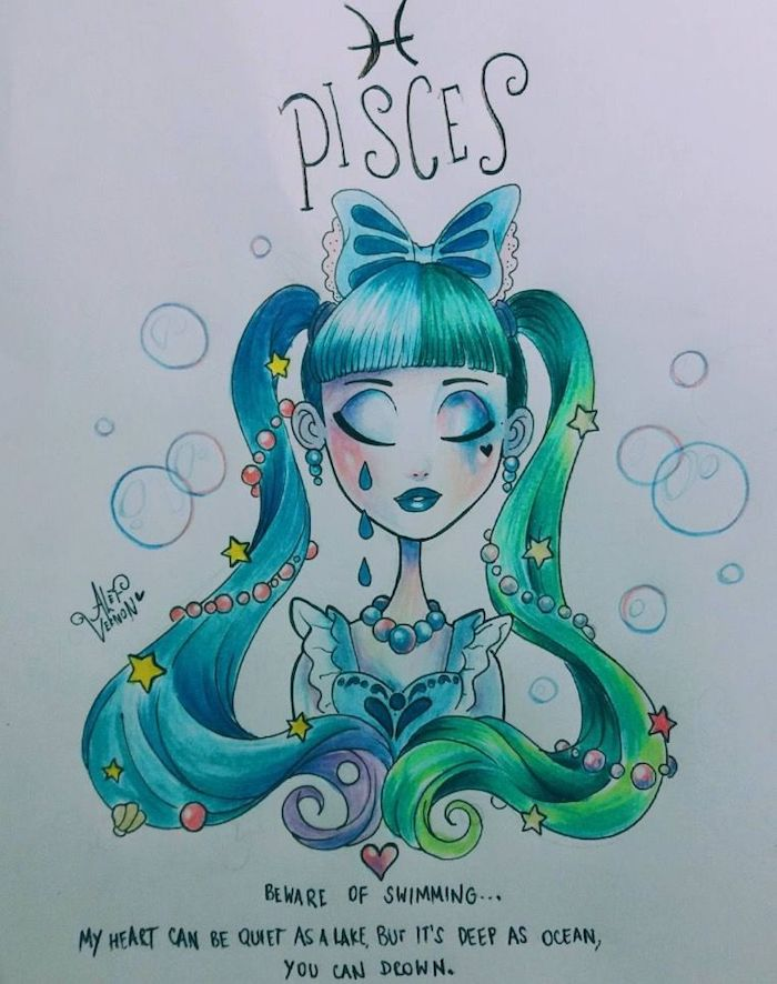 blue and green ponytails, large blue bow, how to draw a person, drawing of pisces zodiac sign