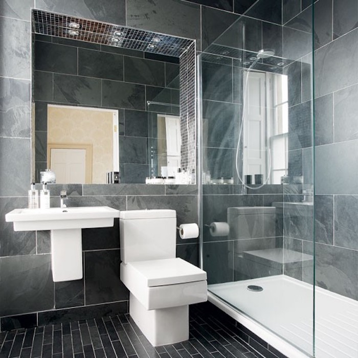 grey marble tiled walls, black tiled floor, glass shower door, small bathroom design ideas