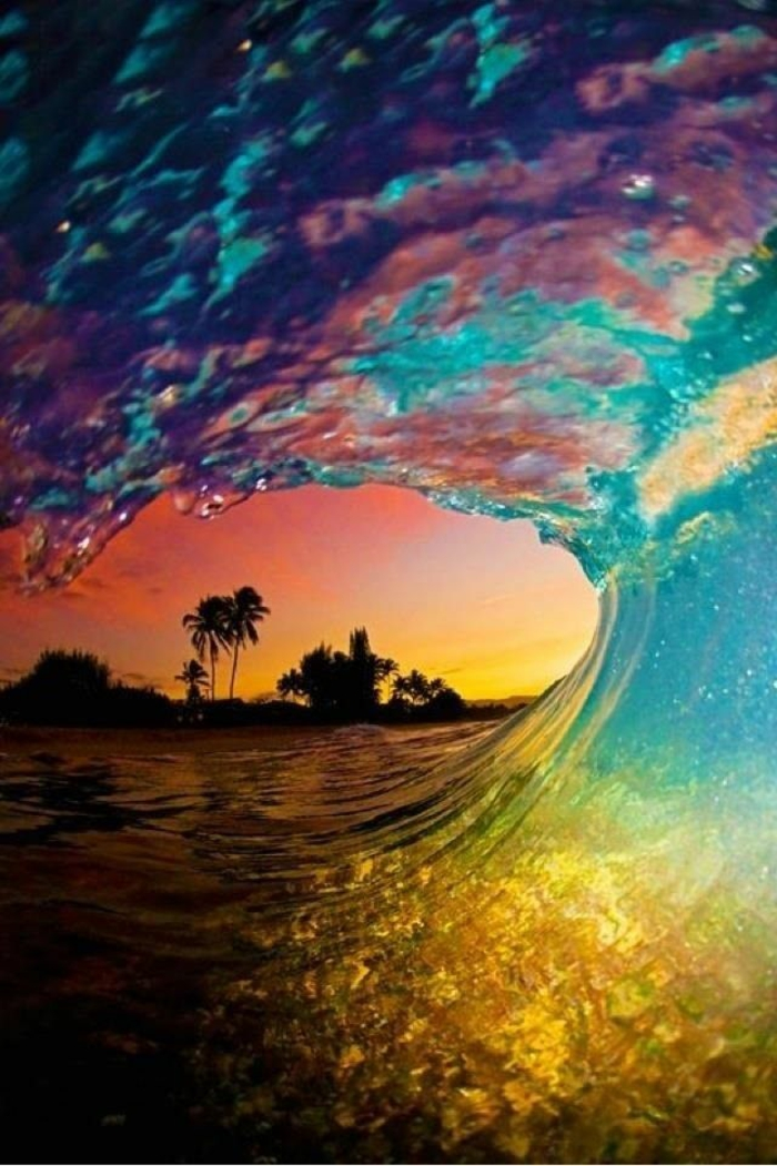 tidal wave, palm trees in the sunset, best iphone wallpapers, colourful wave