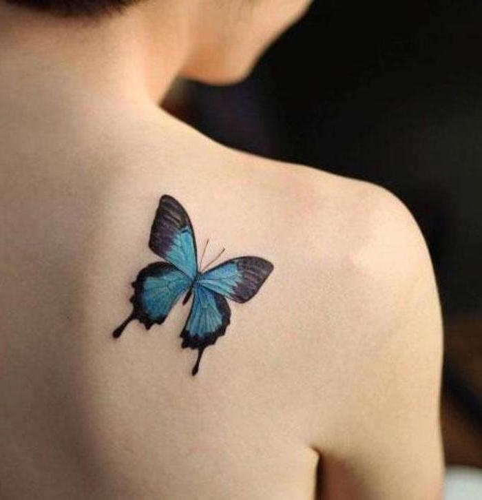 black blue and purple butterfly, tattoo on the shoulder, back tattoos for girls