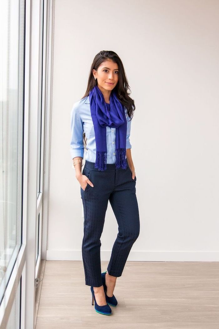 blue scarf, blue shirt, what is business casual for women, navy blue trousers, velvet navy heels