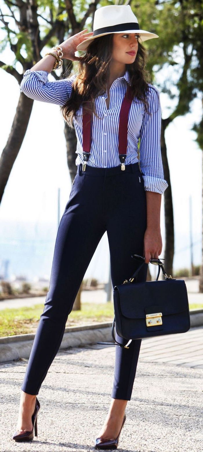 blue white striped shirt, navy trousers, red suspenders and high heels, what is business casual, leather bag
