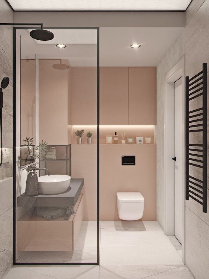 blush and white tiled walls, bathroom shower ideas, floating wooden shelf and sink