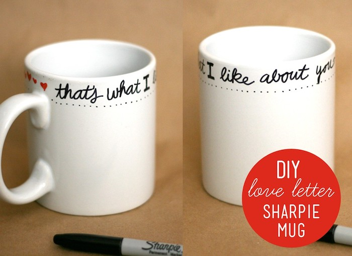 white mug with written message on it, that's what i like about you, black sharpie, romantic gift ideas for boyfriend