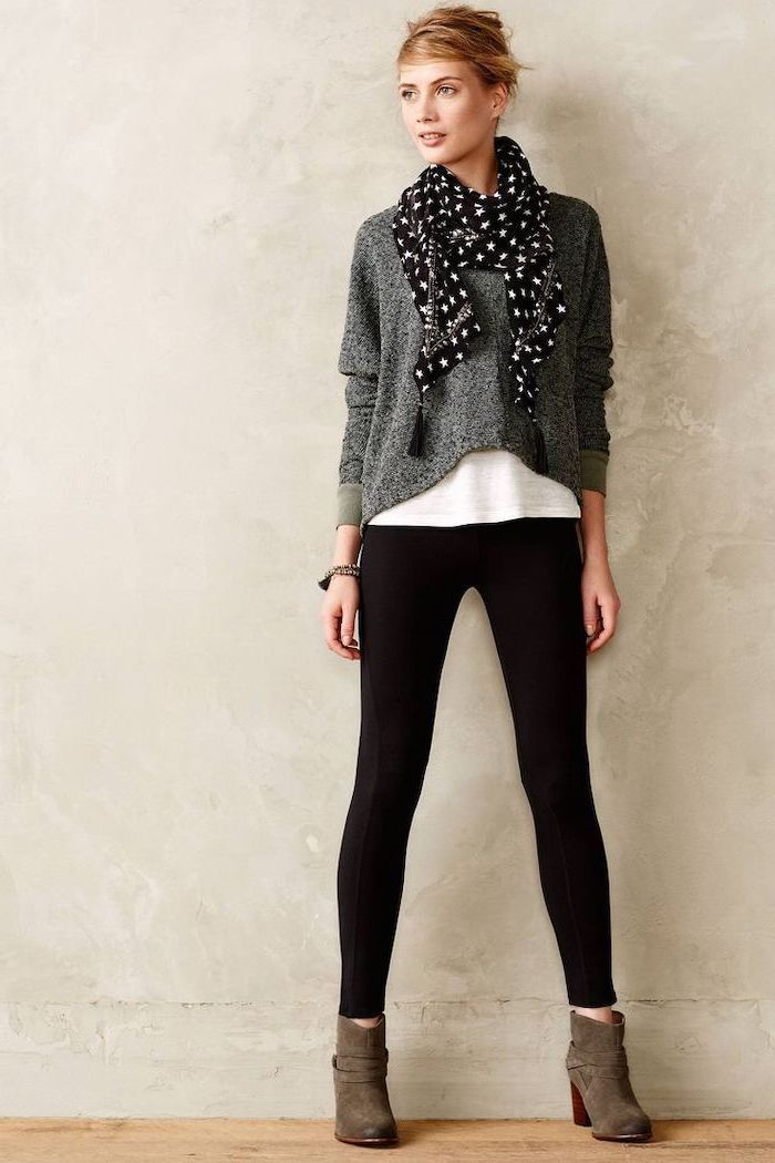 dark grey sweater, star printed scarf, what is business casual for women, black trousers, brown velvet boots