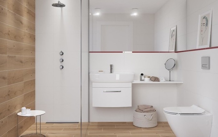 wood tiled floor and wall, small bathroom remodel ideas, white floating cabinet, large mirror