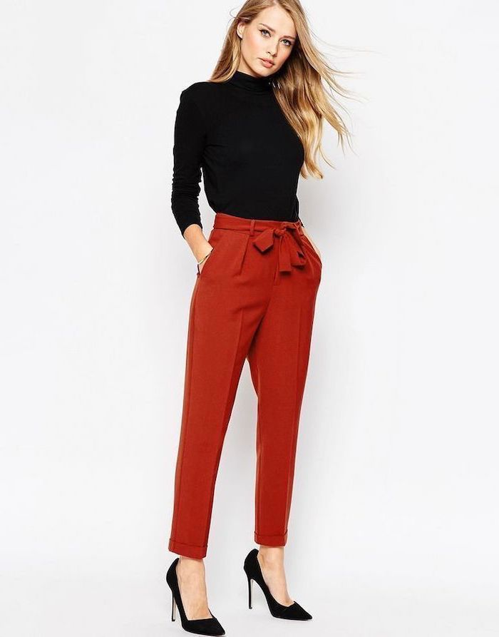 red trousers, black heels, what is casual dress, black turtleneck, long blonde hair