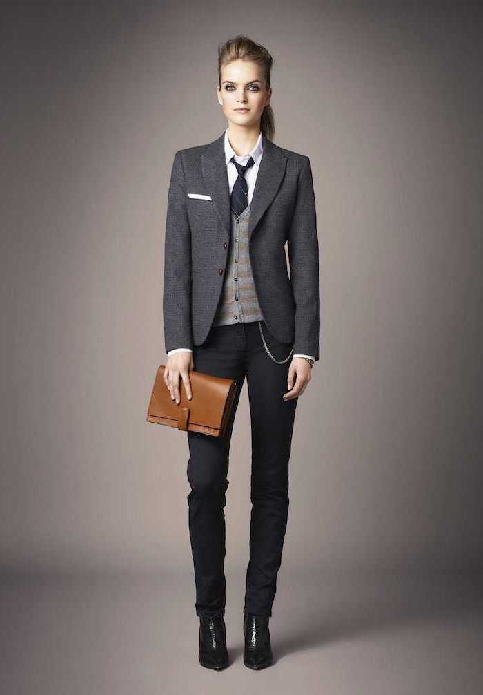 grey blazer and vest, black trousers, what is business casual for women, black tie and boots, white shirt
