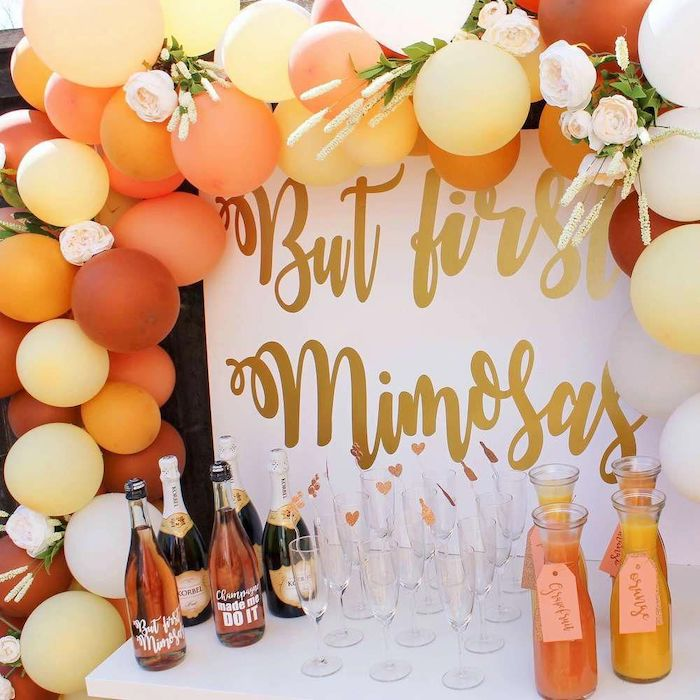but first mimosas sign, shades of orange balloons, champagne bottles, unique bachelorette party ideas
