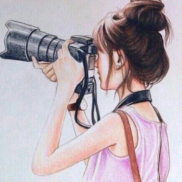 long camera lens, brown hair in a bun, pink top, how to draw female body, white background