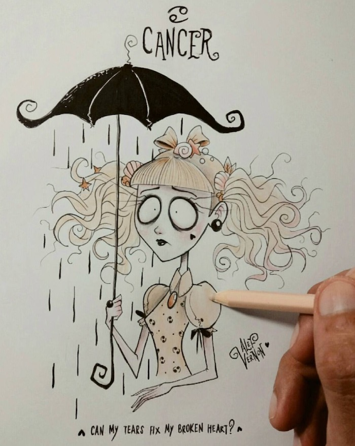 black umbrella, how to draw a braid, cancer zodiac sign drawing, blond curly ponytails