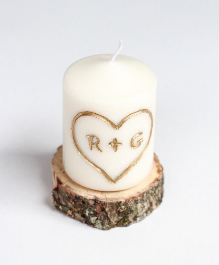 white candle with golden initials, wooden coaster, personalised gifts for boyfriend
