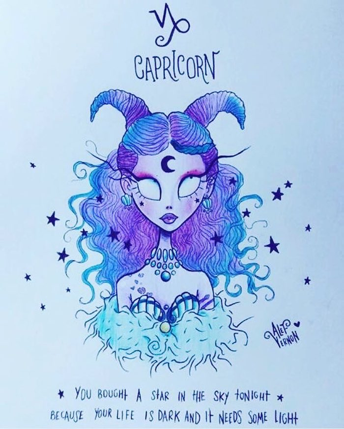 capricorn zodiac sign drawing, girl drawing easy, blue and purple curly hair, blue and purple horns