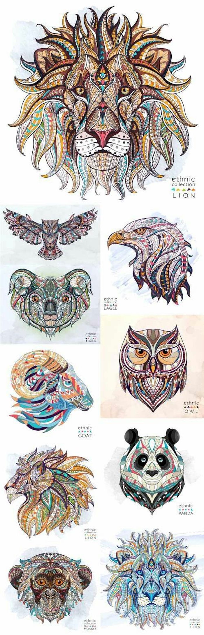 colourful animal head drawings, tattoo designs for men, white background