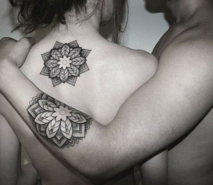 couple with matching tattoos, tattoos for men with meaning, geometrical flowers