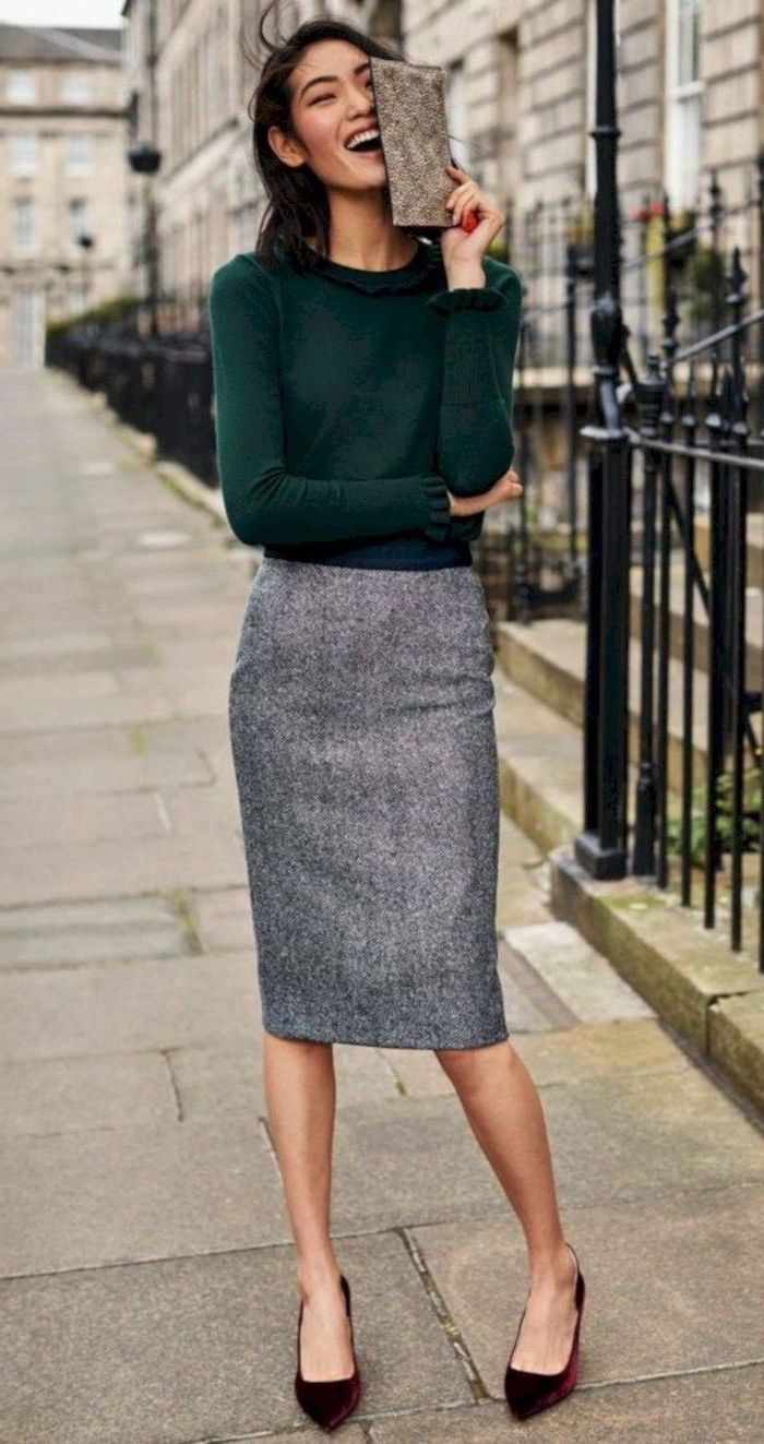 dark green blouse, business wear for women, grey pencil skirt, burgundy velvet flats, small grey clutch