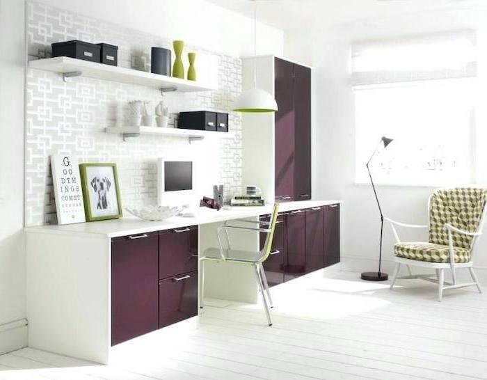 dark purple cabinets, white desk, green chairs, white bookshelves, home office setup
