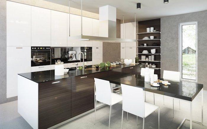 white cabinets, dark wooden kitchen island, kitchen wall decor ideas, black counters
