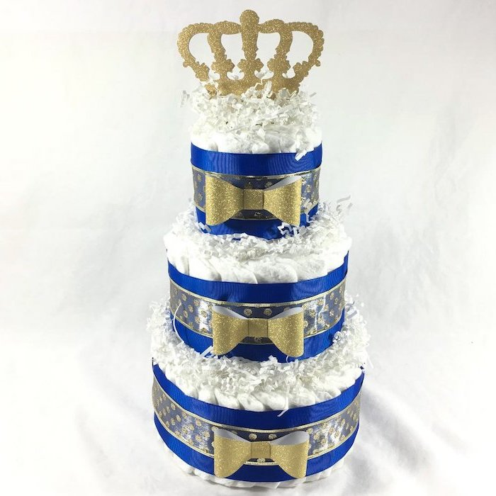 diaper cake, blue and gold ribbon and bows, golden crown on top, baby shower themes