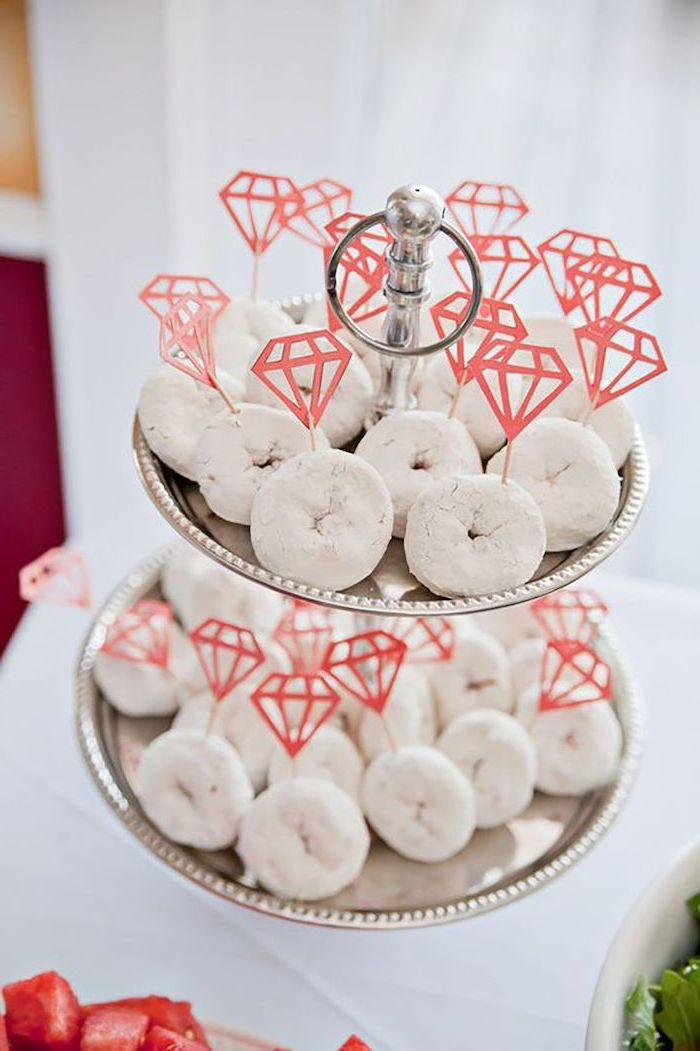 white donuts with diamonds, bachelorette shirt ideas, silver cake stand, white background