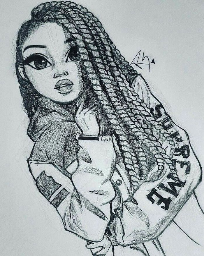 black and white drawing of a girl, face drawing, long braids, supreme jacket