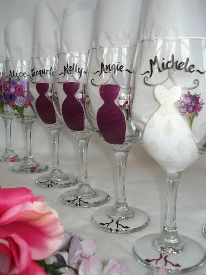 champagne flutes, name inscriptions, unique bachelorette party ideas, painted dresses and flowers