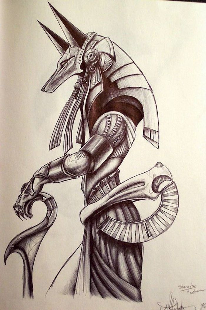 egyptian god drawing, simple tattoos for men, white background