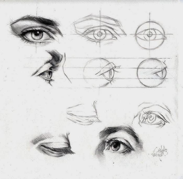 different eye shapes, black sketches, white background, how to draw a female face