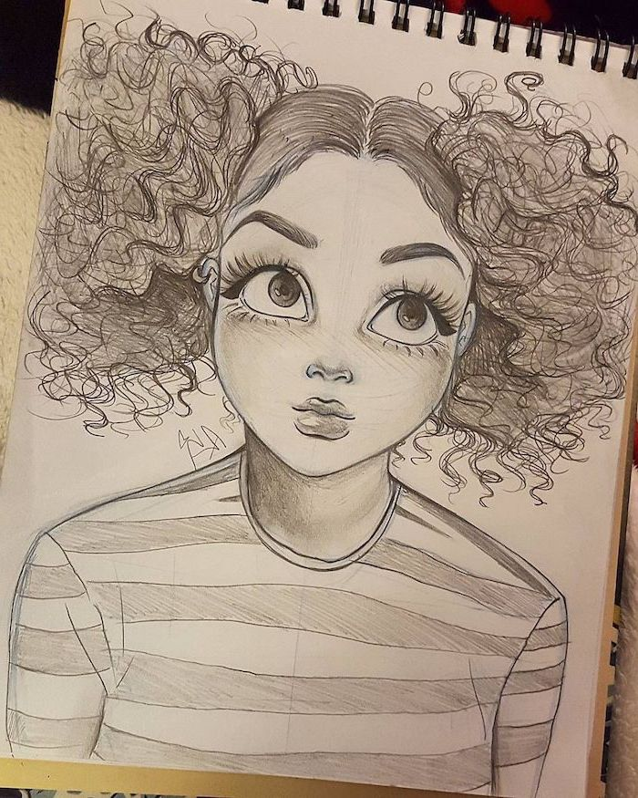 curly ponytails, black and white sketch, big eyes, striped blouse, how to draw a woman