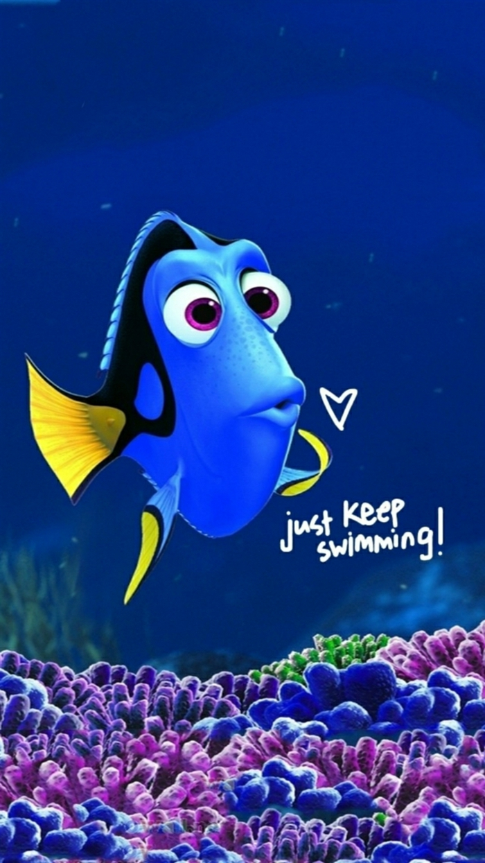 finding dory, just keep swimming, inspirational wallpapers, purple and blue coral reefs
