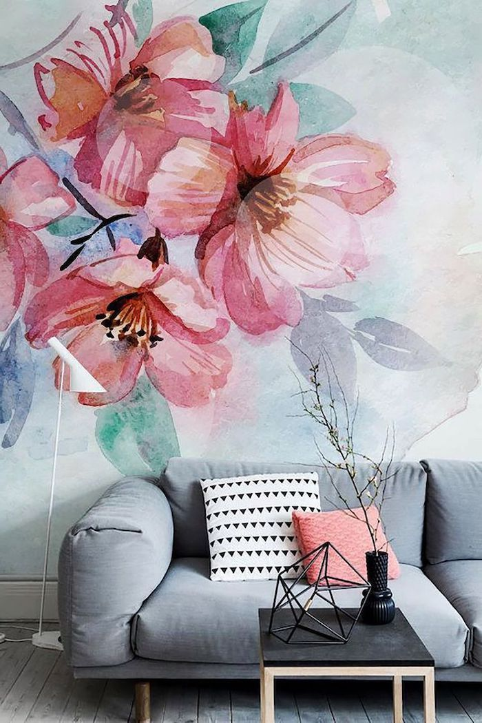 flowers painting wallpaper, accent wall, grey sofa, small black coffee table
