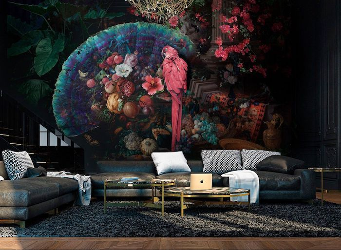 floral wallpaper with a pink parrot, black leather corner sofa, accent wall ideas, round coffee tables