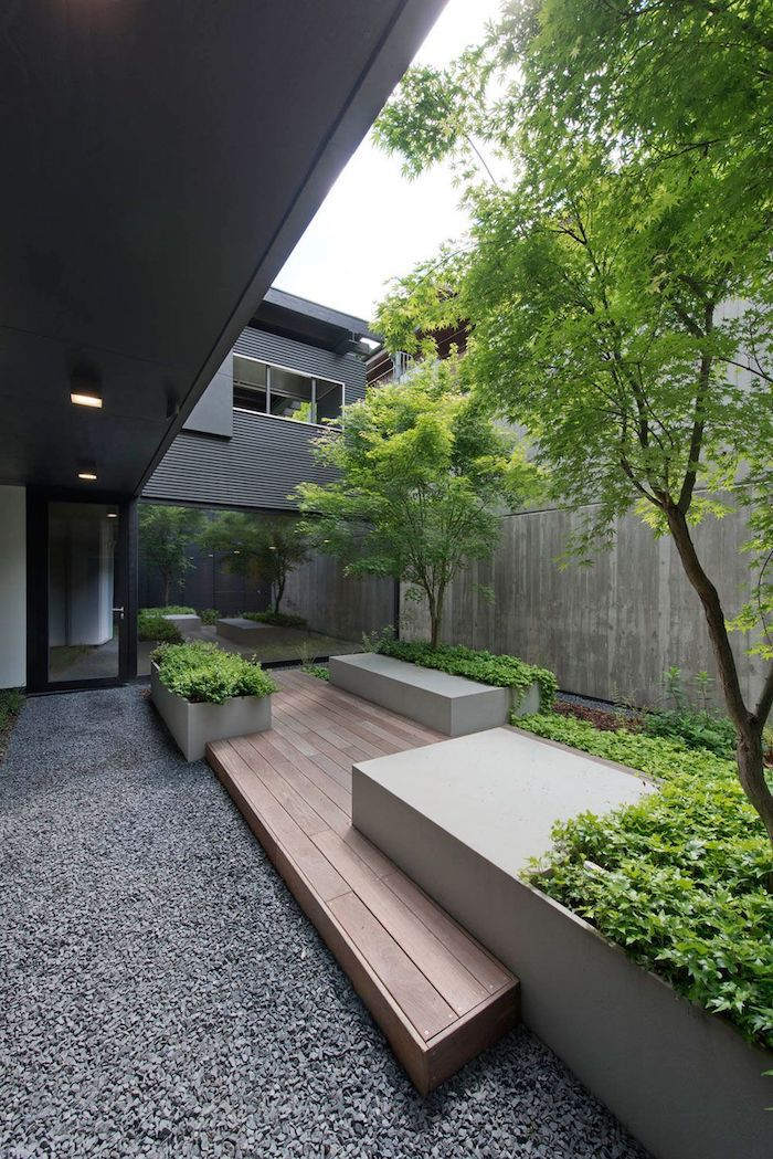 pathway made of gravel, small patches with grass and bushes, landscape design ideas, tall trees