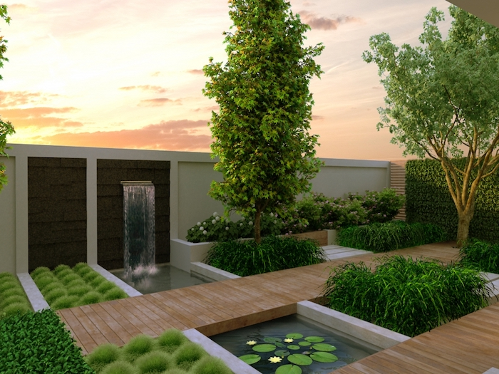 tall trees, small fountain, landscape design ideas, flower beds, small patches of bushes and grass