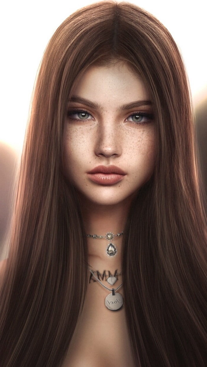 long brown straight hair, green eyes, how to draw a woman, silver necklaces