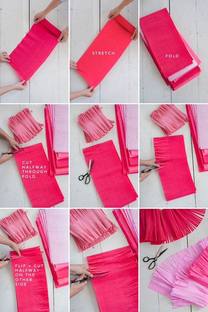 diy crepe paper garlands, shades of pink crepe paper, bachelorette party games
