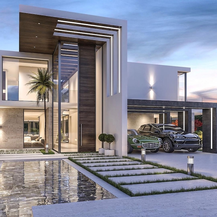 futuristic house, small water pool, landscaping ideas, tall palm tree, small patches of grass on the pathway