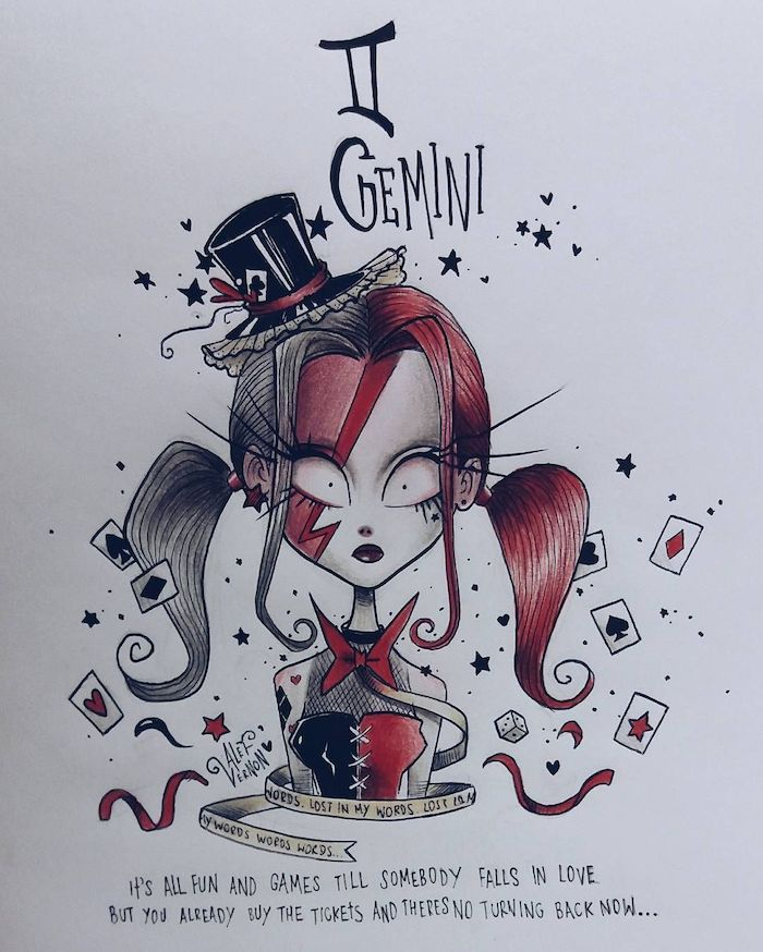 black and red ponytails, gemini zodiac sign drawing, how to draw a braid, small black hat