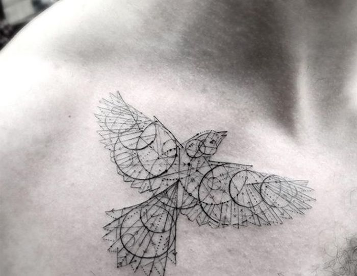geometrical bird, tattoo on shoulder, simple tattoos for men