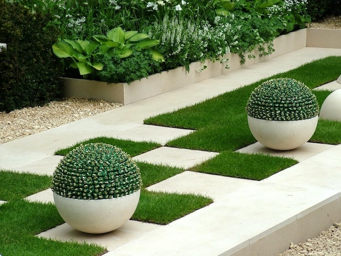flower beds, landscape design ideas, geometrical grass patches, round ceramic pots with bushes