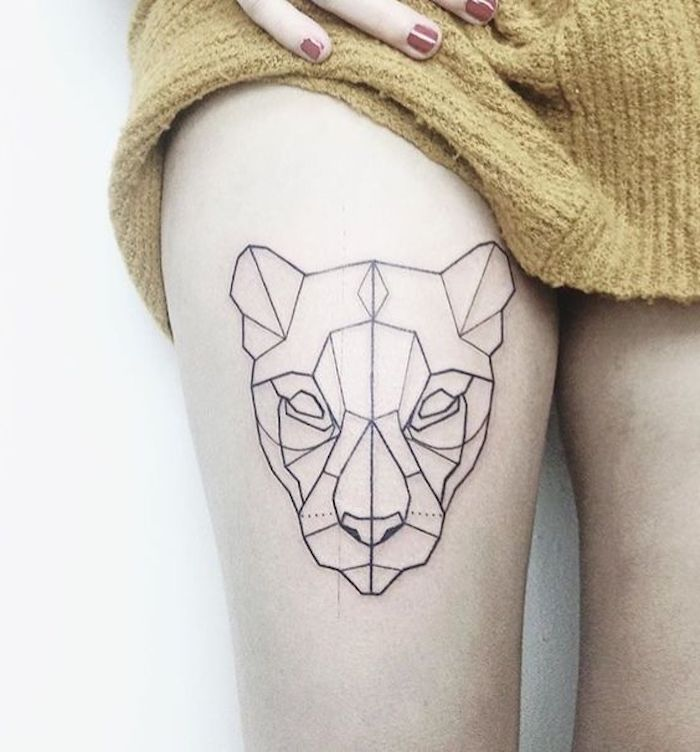 geometrical tiger head, tattoo on thigh, arm tattoos for men, white background